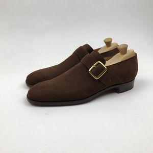 London Alan McAfee Monk Strap Loafers Suede Shoes